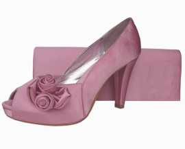 Rosebud Quartz Pink Satin Platform Ladies Shoe
