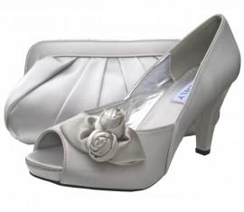 Rosebud Silver Evening Shoes