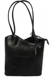 Italian Leather Shoulder and Rucksack Bag Black
