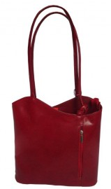 Italian Leather Shoulder and Rucksack Bag Red