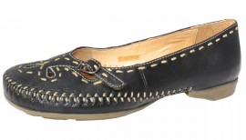 Sally Soft & Flexible Black Leather Flat Shoes