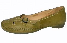 Sally Soft & Flexible Green Leather Flat Shoe