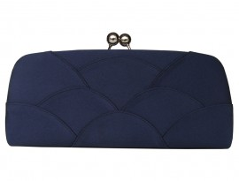 Selina Navy Satin Clutch Bag