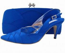 Selina Royal Blue Satin Ladies Sling Back Shoe