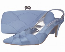 Selina Periwinkle Blue Satin Ladies Sling Back Shoe