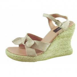 Suzanne Pink Hessian Wedge Sandal