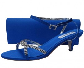 Theresa Low Heel Royal Blue Evening Sandals