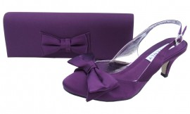 Twee Aubergine Satin Clutch Bag