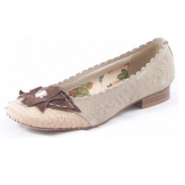 Vair Beige Suede Leather Flat Ladies Shoes