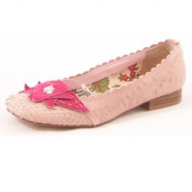 Vair Pink Leather Suede Flat Ladies Shoes