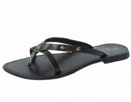Violet Black Leather Toe Post Sandals