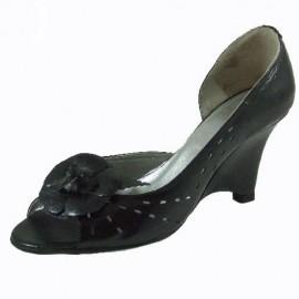 Zoe Peep Toe Black Leather Ladies Shoes