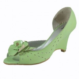 Zoe Peep Toe Wedge Shoe in Citrus Green Leather