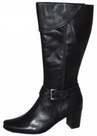 Amelia Black Leather Knee High Boots