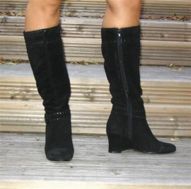 Chrissy Black Suede Wedge Heel Ladies Boots