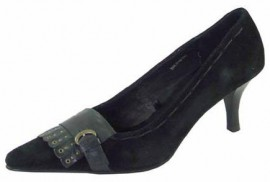 Corsa Black Suede Heeled Ladies Shoes
