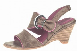 Delilah Brown & Pink Wedge Heeled Sandals