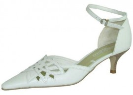 Gina White Leather Heeled Ladies Shoes