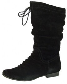 Giselle Black Leather Suede Boots