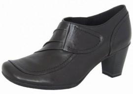 Gloria Black Leather Heeled Shoe Boot