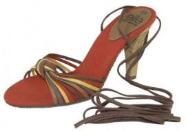 Jadel Orange & Red Heeled Sandals