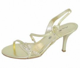 Janette Light Gold Diamante Evening Sandals