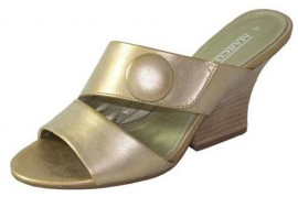 Jolene Gold Metallic Wedge Heel Ladies Mule