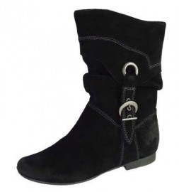 Katherine Black Leather Suede Boots