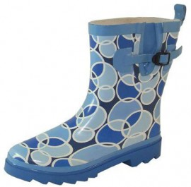 Ladies Retro Blue & White Circle Cropped Wellies