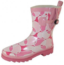 Ladies Retro Pink & White Circle Cropped Wellies