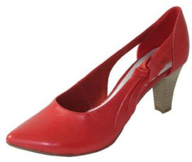 Leigh Red Leather Heeled Ladies Shoes