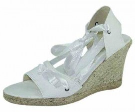 Lily White Hessian Wedge Heel Sandal