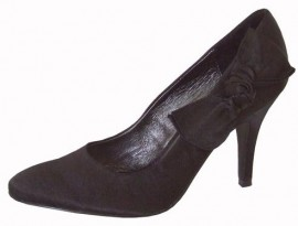 Menbur Black Satin Heeled Ladies Shoes