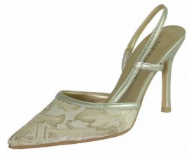 Menbur Champagne Gold Brocade Ladies Shoes