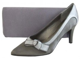 Menbur Grey Satin Clutch Bag