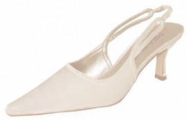 Menbur Ivory Satin Sling Back Bridal Shoes