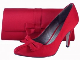 Menbur Red Satin Heeled Shoes with Bow