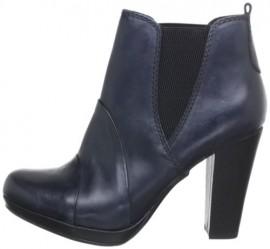 Natasha Navy Leather Ankle Boots