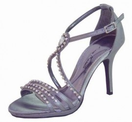 Phoebe Diamante Pewter Evening Sandals