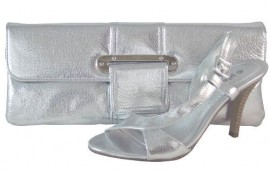 Pilar Abril Silver Metallic Clutch Bag