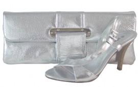 Pilar Abril Silver Evening Sandals