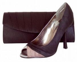 Primrose Black Satin Peep Toe Shoe