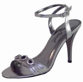Raquel Diamante Metaliic Pewter Evening Sandals