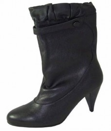 Ruffle Black Leather Ladies Boots