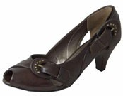 Selina Cafe Leather Heeled Ladies Shoes