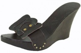 Ted Baker Chocolate Leather Wedge Sandal