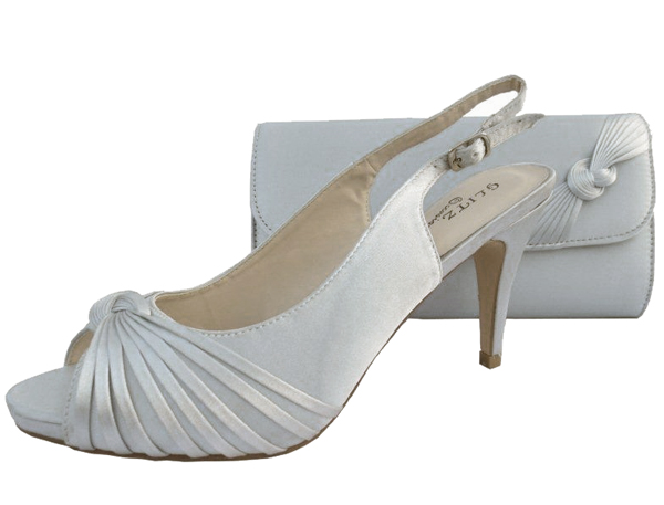 Silver Wedding Shoes And Matching Bag