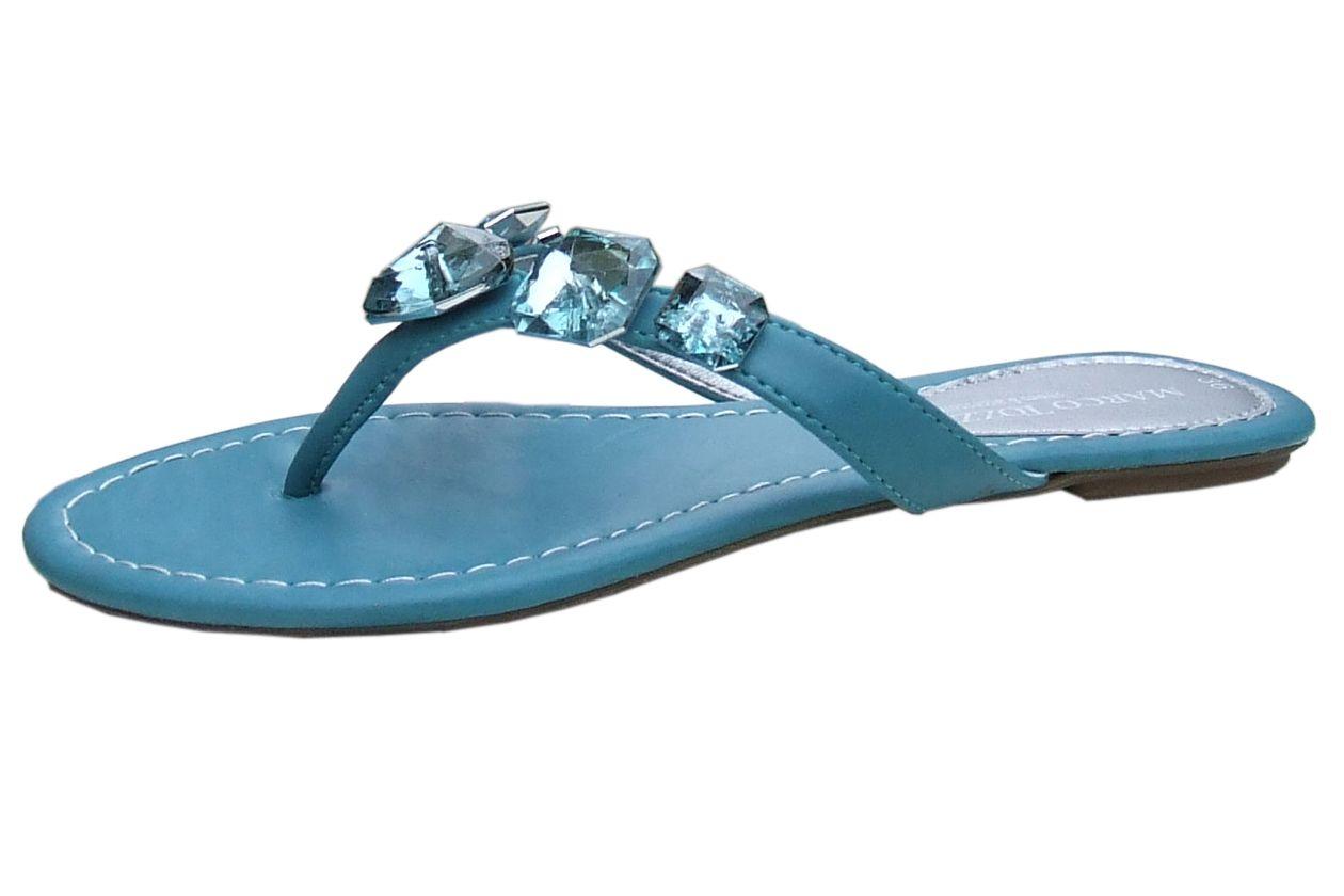 Ladies Turquoise Toe Post Sandals Sole Divas