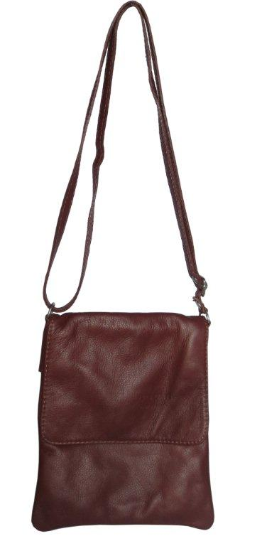 Italian Leather Cross Body Bag Brown