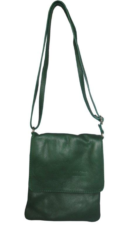 Green Italian Leather Cross Body Bag